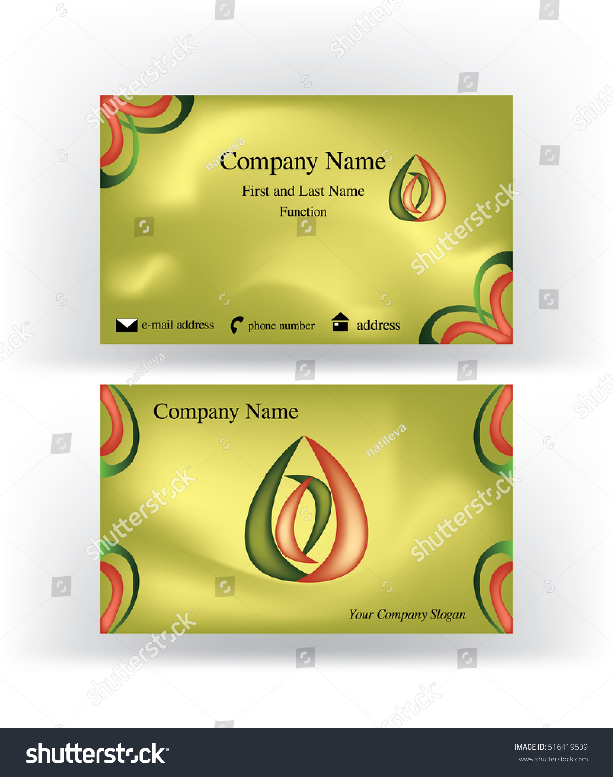 business card drop shape logo holding stock vector 516419509