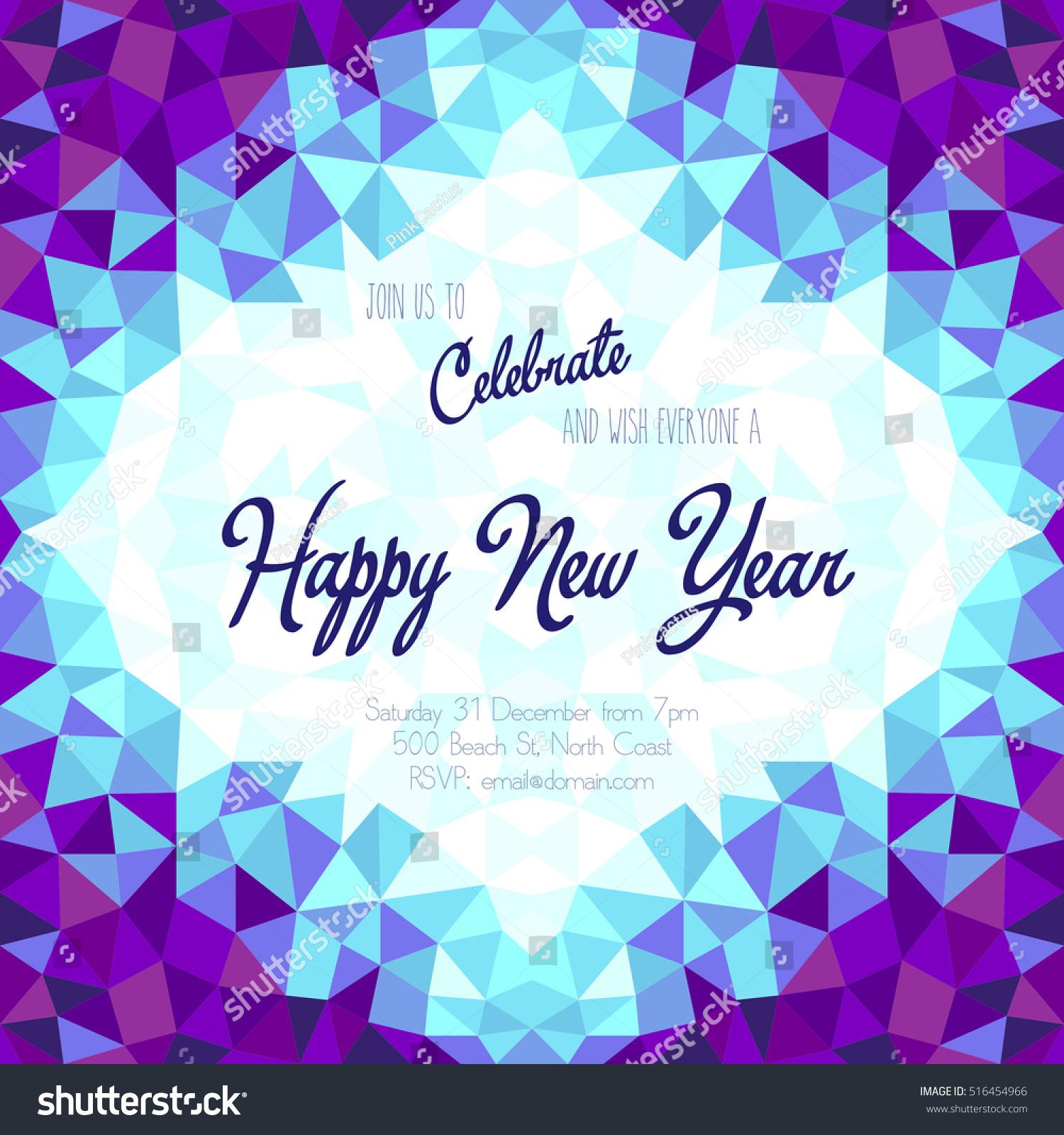 new year celebration invitation with geometric frame