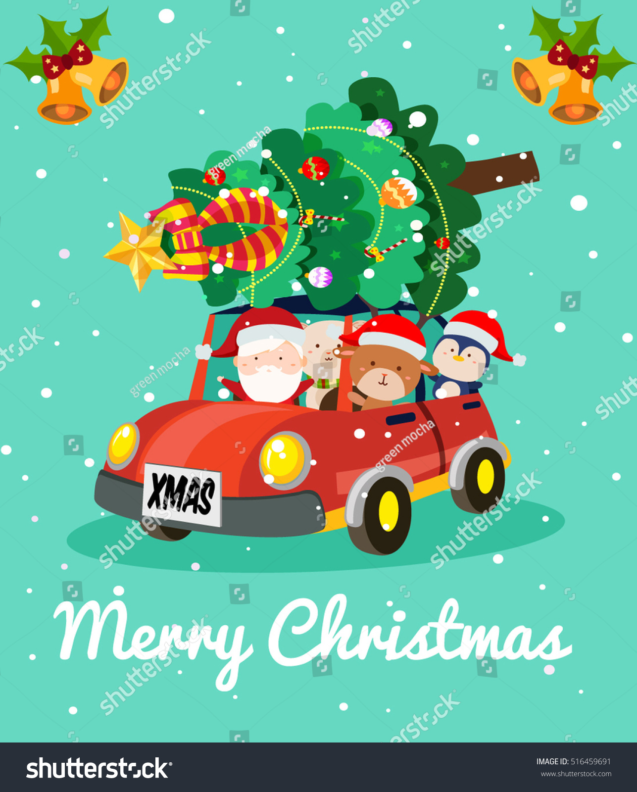 Merry Christmas Card Santa Clause Friends Stock Vector (Royalty Free ...