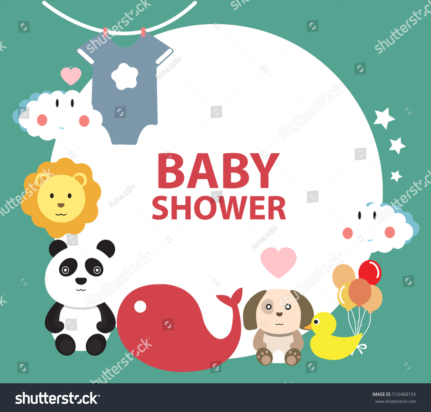 baby shower invitation template greeting card stock vector 516468154