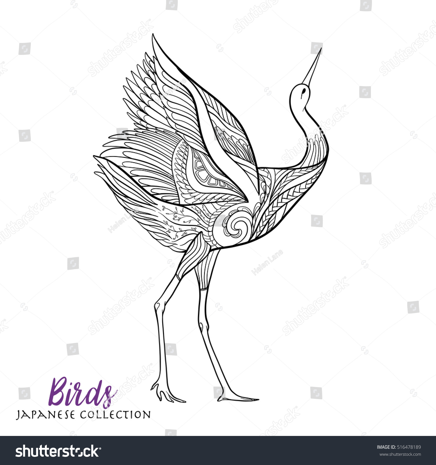 japanese crane coloring book outline stock vector 516478189