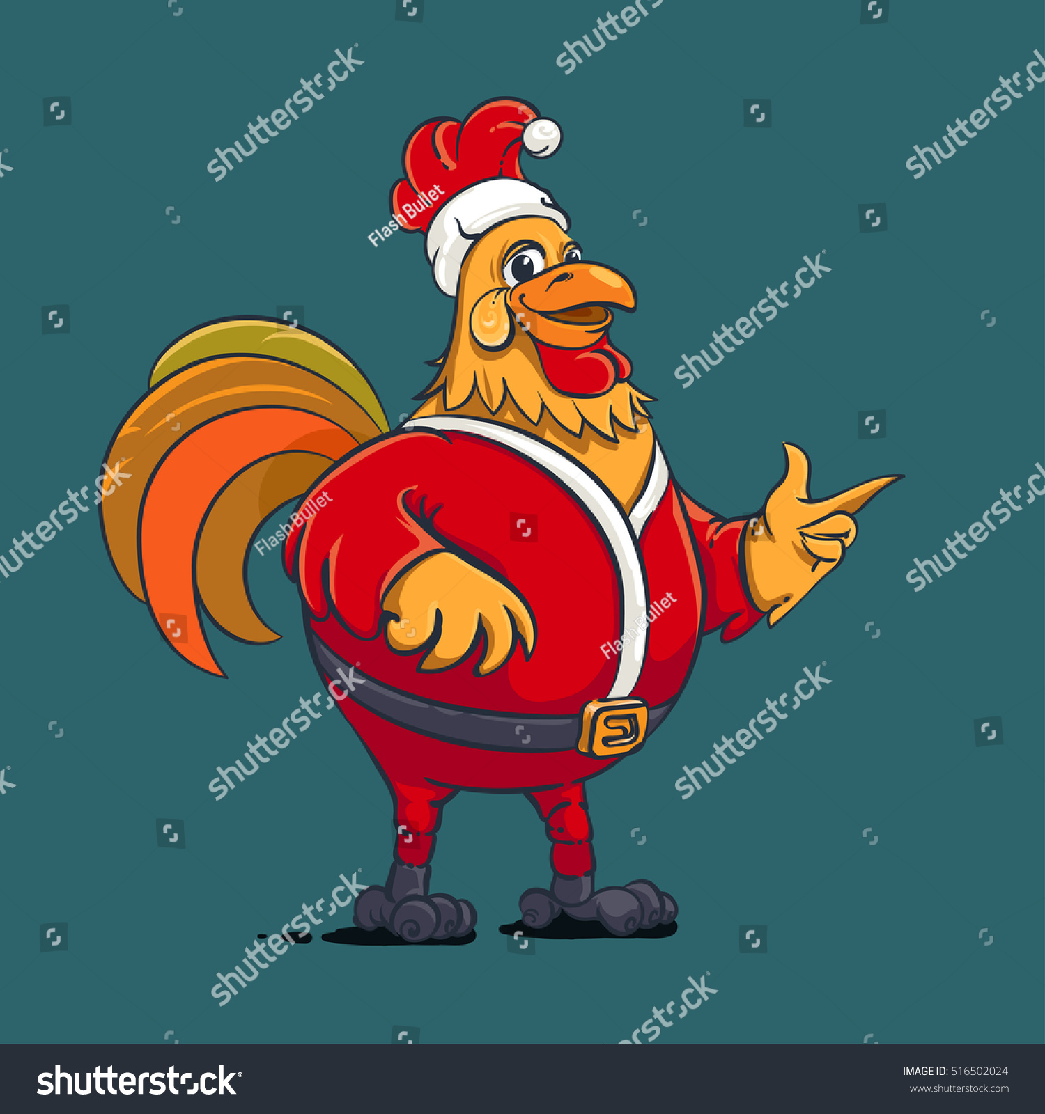 Christmas Card Rooster Santa Chinese New Stock Vector Royalty Free