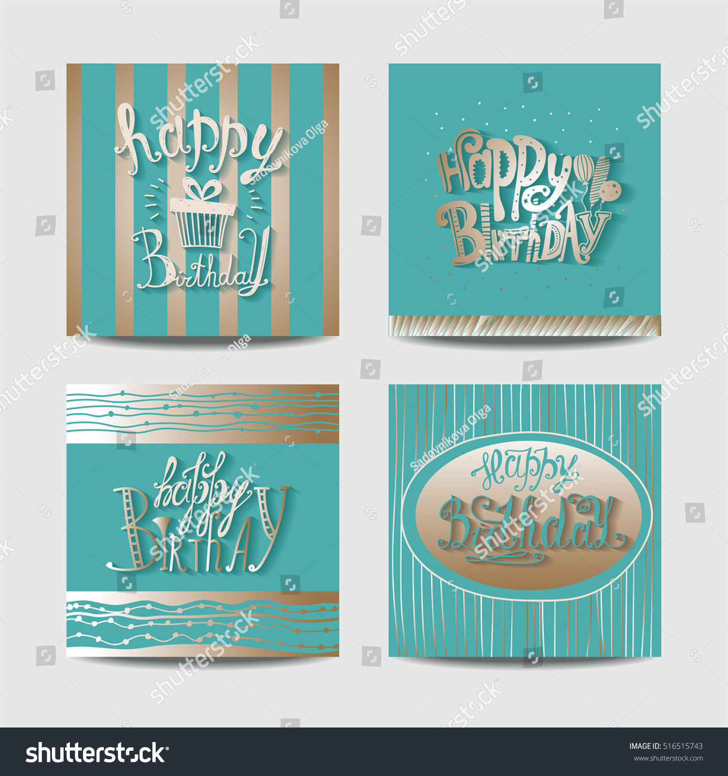 Set Greeting Cards Happy Birthday Hand Stock Illustration Royalty