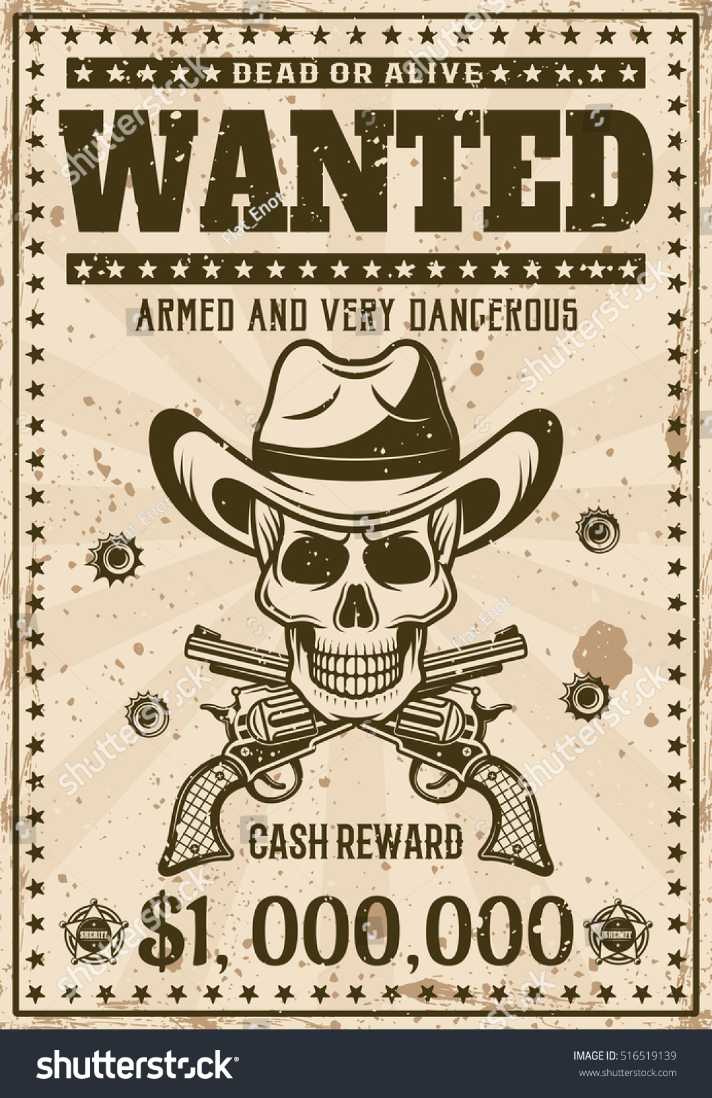 Wanted Vintage Western Poster Template Cowboy Vector – Western Poster Template