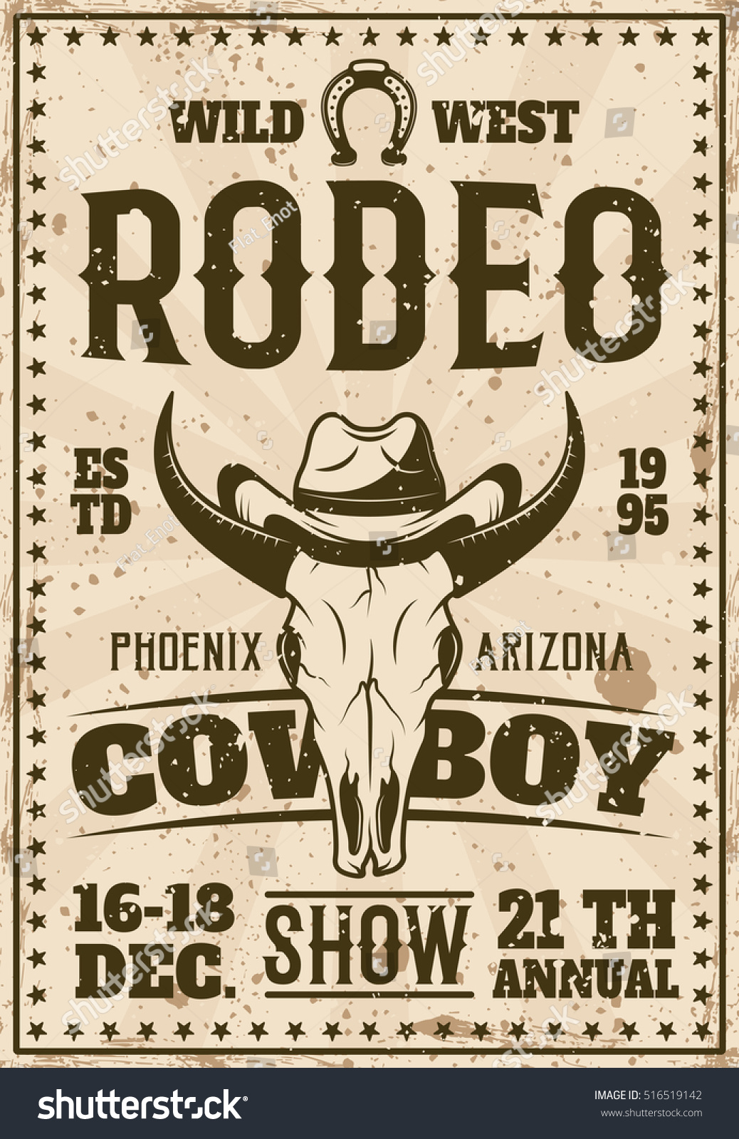 Rodeo Show Advertisement Poster Event Retro Stock Vector ...