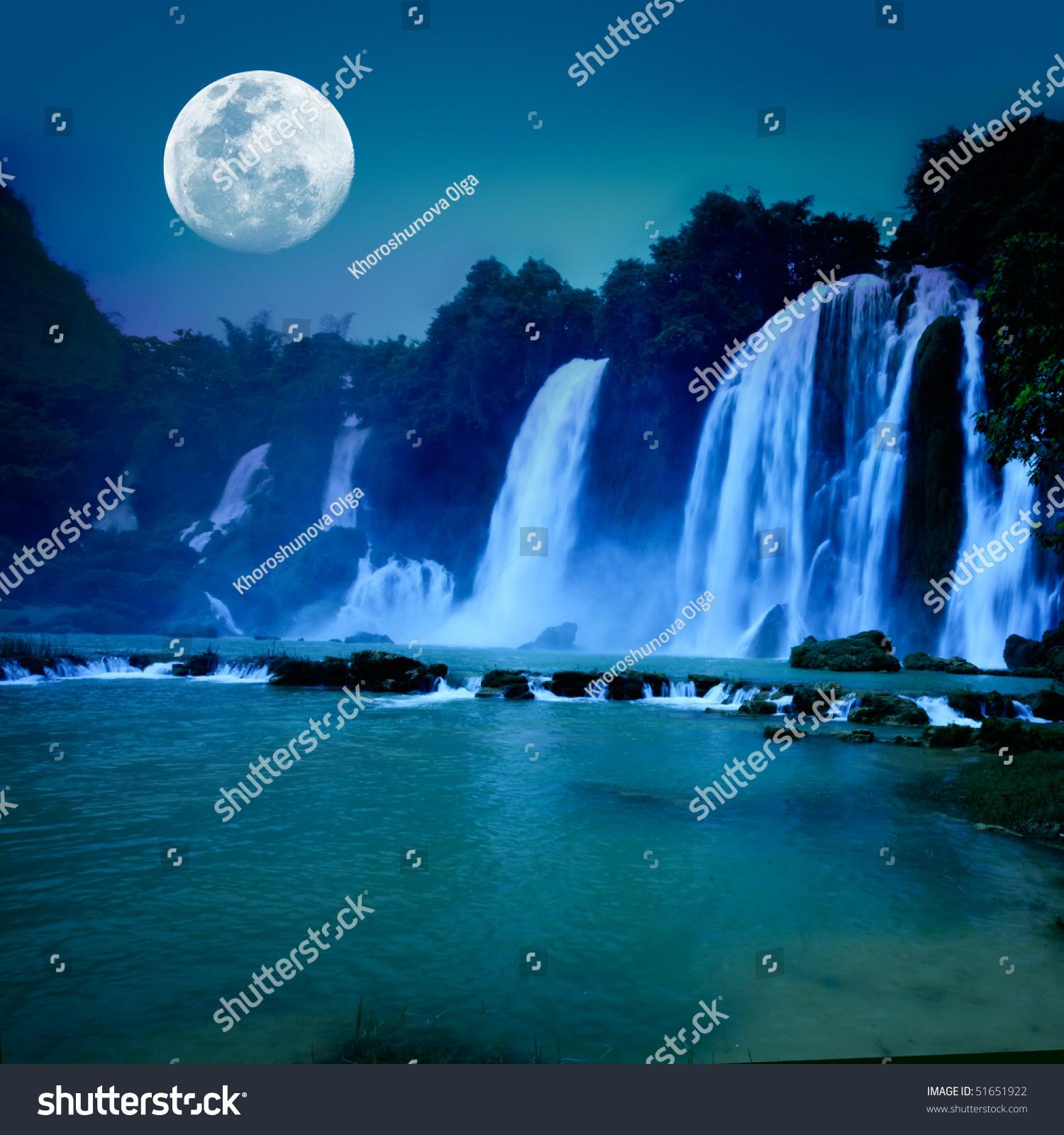 Beautiful Waterfall Under Moonlight Night Time Stock Photo 51651922 Shutterstock