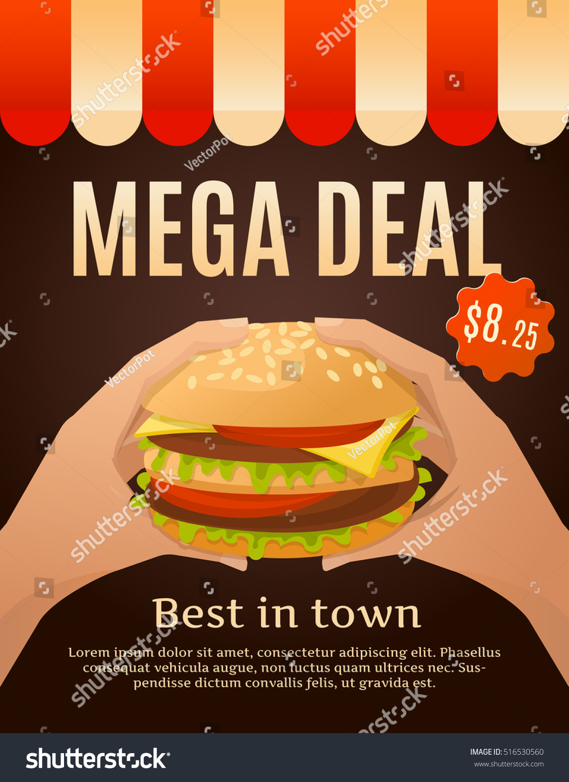 Super Fast Food Advertisement Infographics Composition Burger Stock  VE38