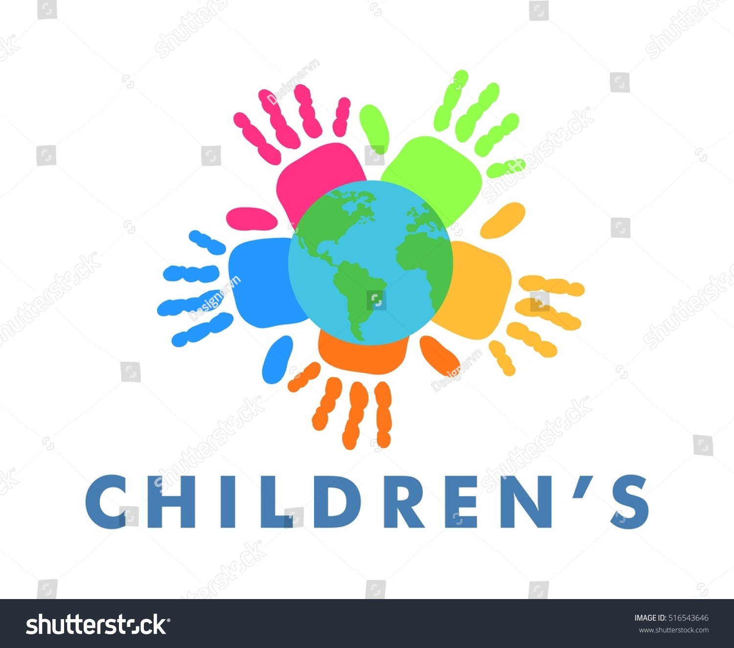 Children protection banner colorful hand symbols stock vector children protection banner colorful hand symbols earth decoration biocorpaavc