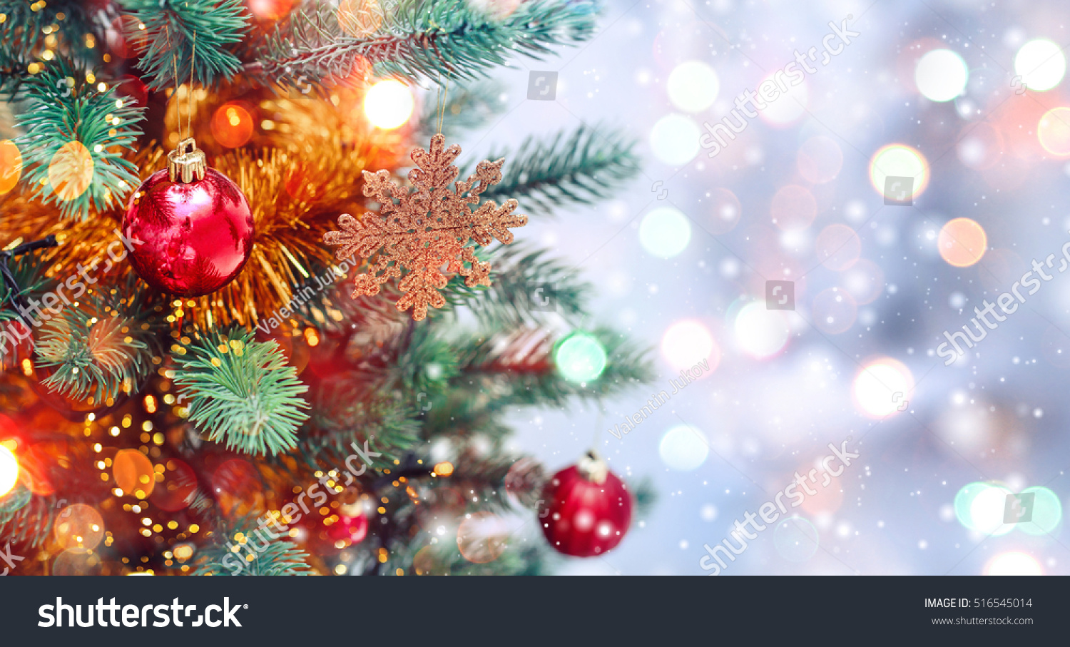 christmas tree background christmas decorations snow stock photo