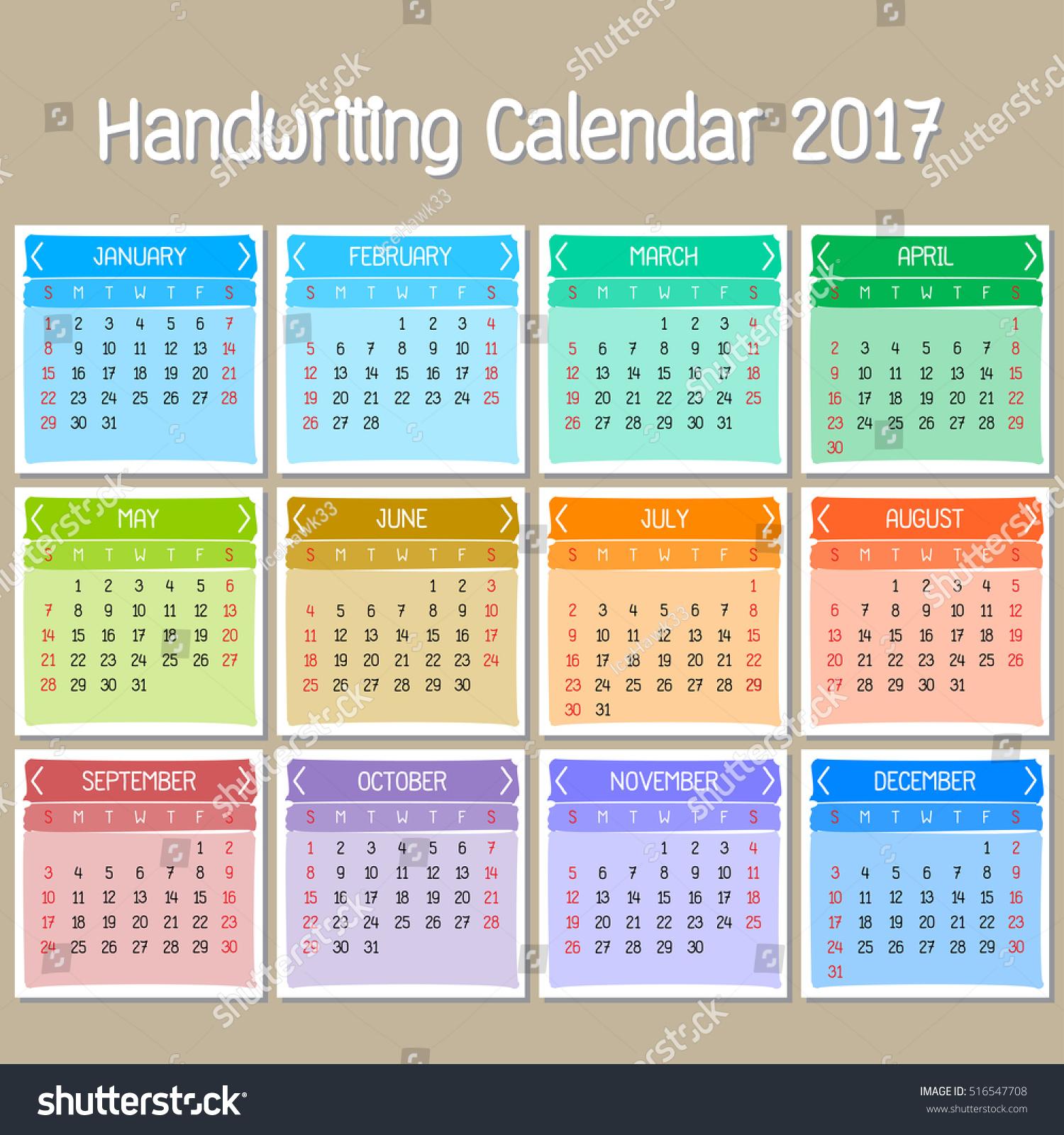 Cute Calendar Illustration : Basic handwriting calendar cute vector stock