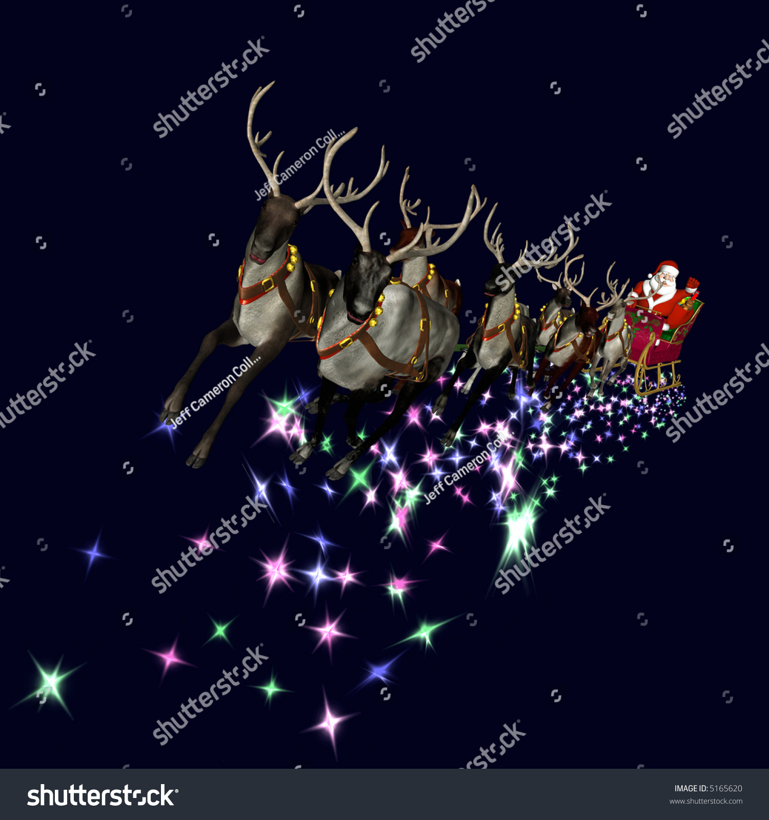 Santa and reindeer flying with rudolph stock images similar to id
