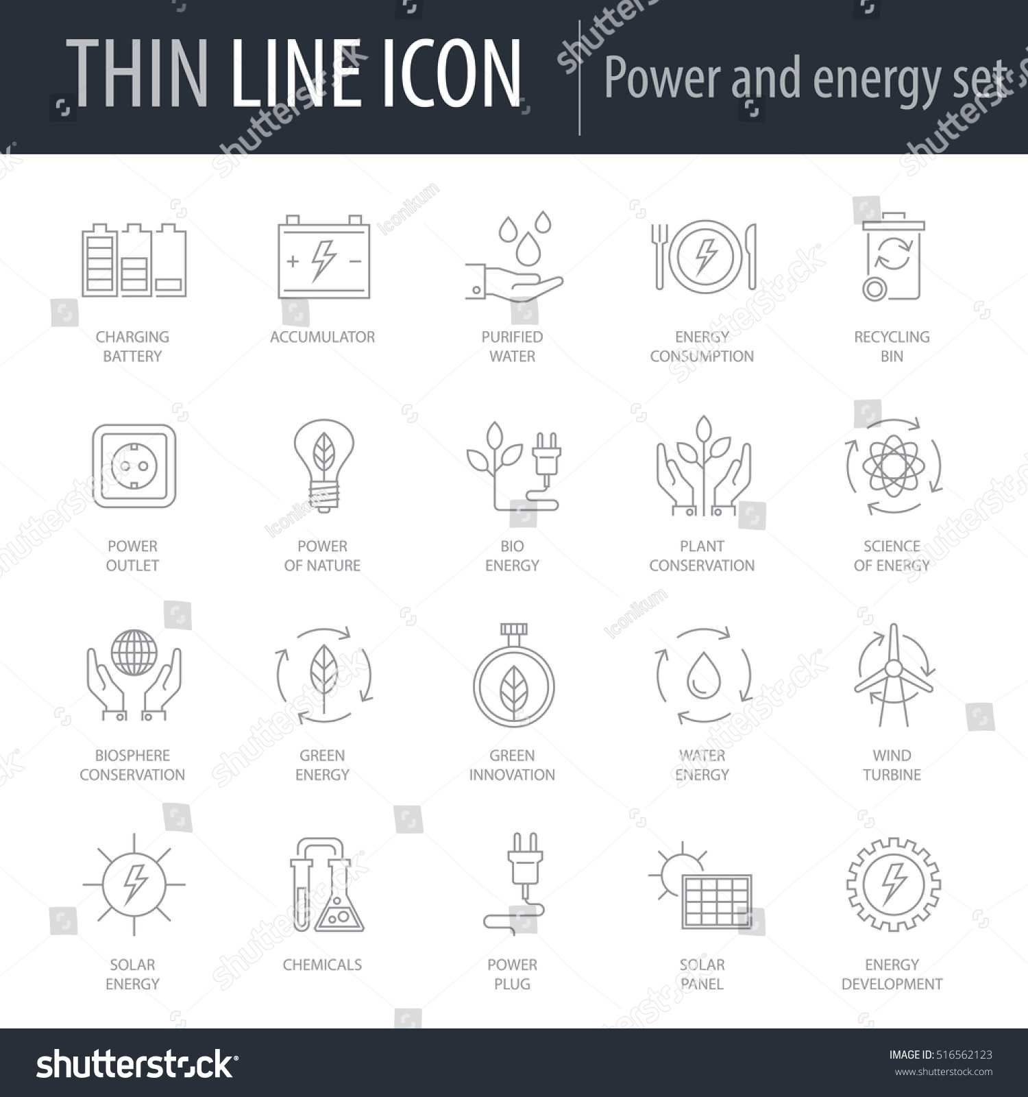 Icons Set Power Energy Symbol Intelligent Stock Vector 516562123 ...