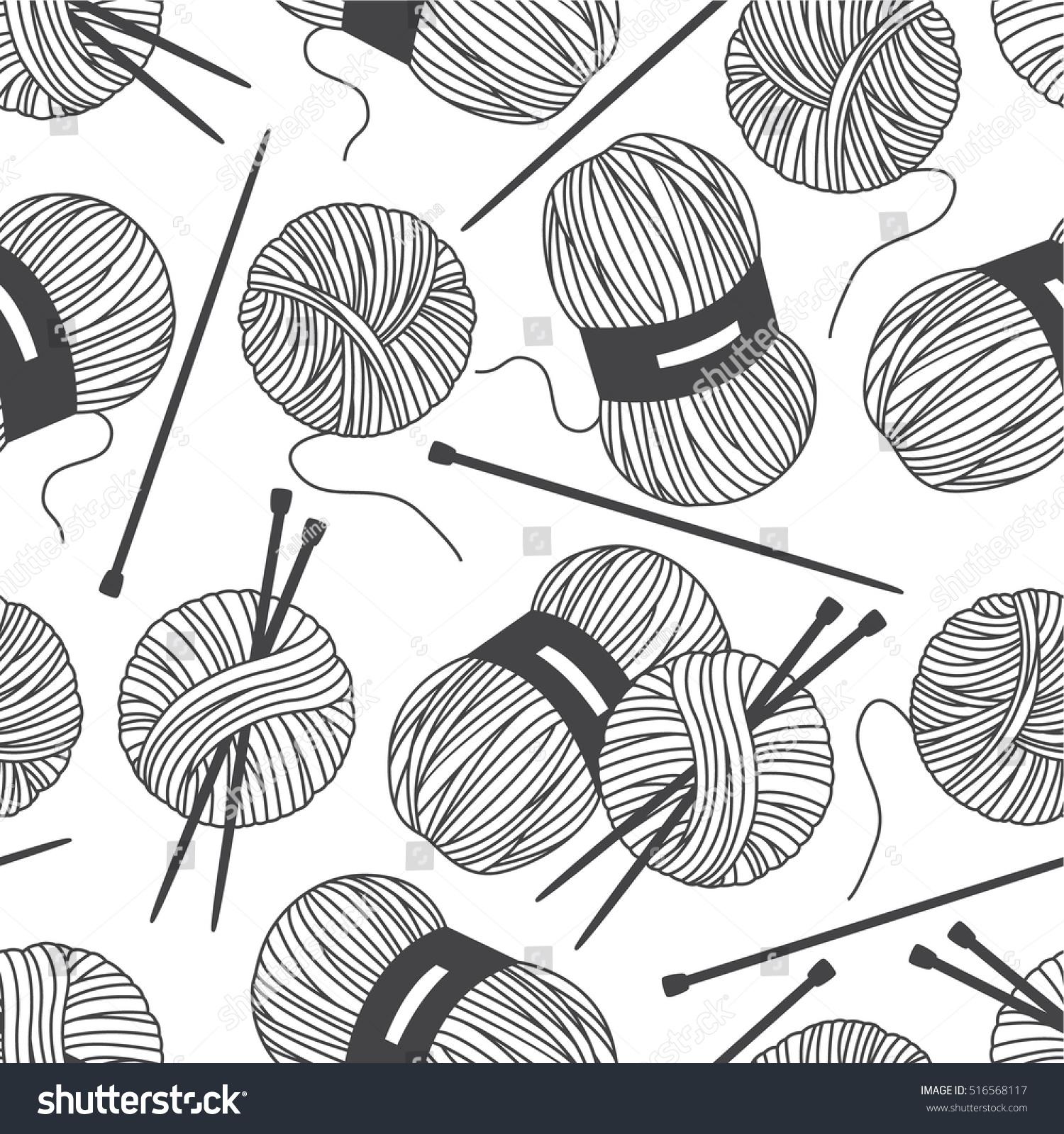 Seamless Pattern Tools Knitting Crochet Hand Stock Vector Royalty