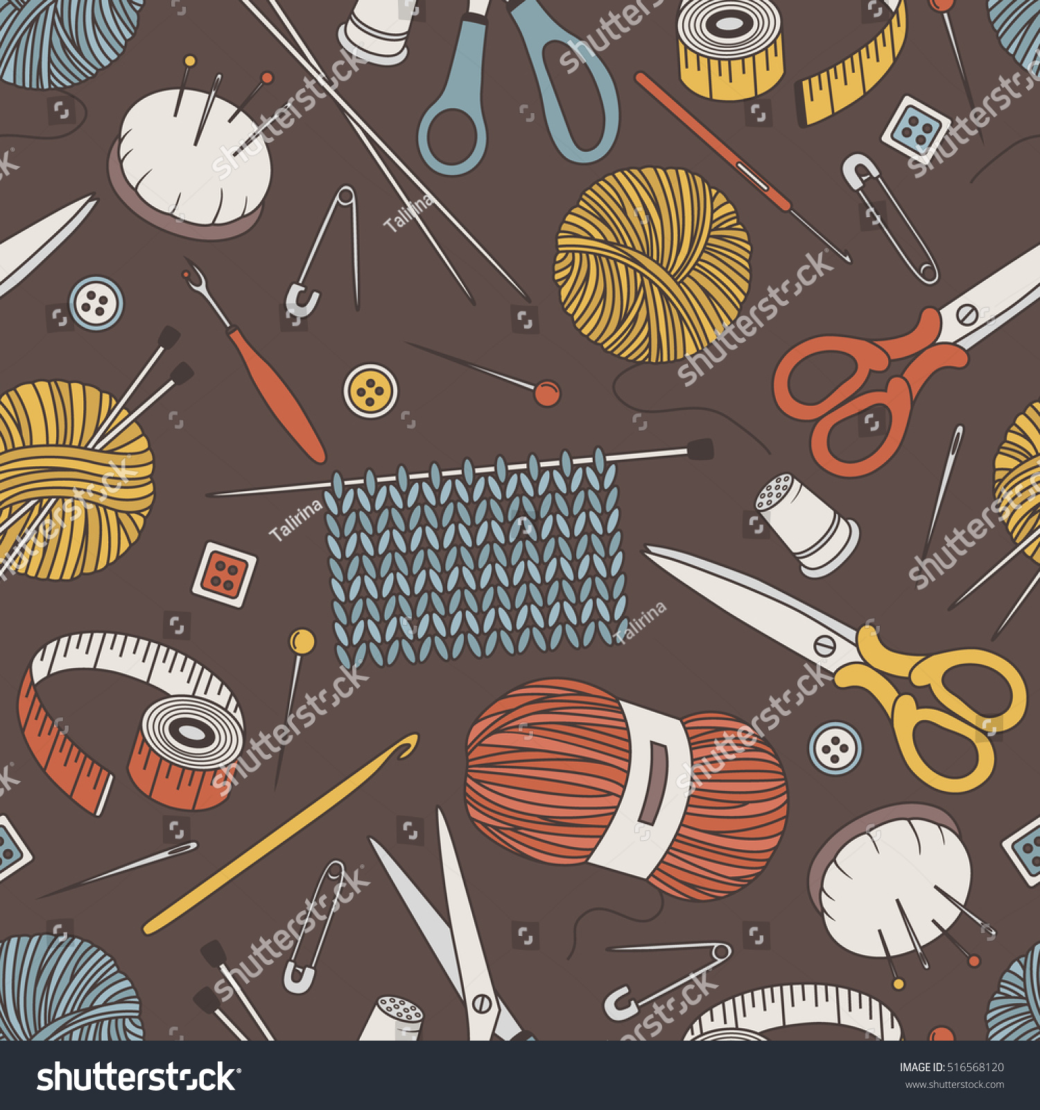 Seamless Pattern Tools Knitting Crochet Hand Stock Vector Royalty Free 516568120