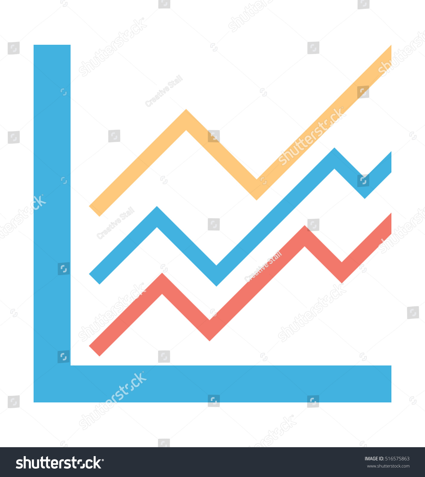 line graph vector icon stock vector (royalty free) 516575863