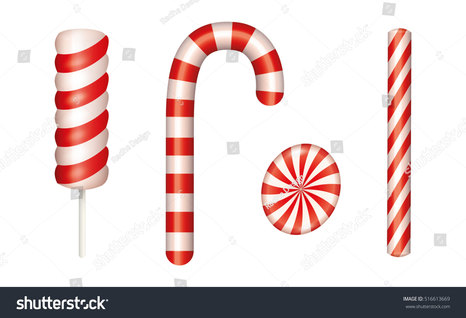 Christmas candies set Includes Candy cane Isolated vector illustration