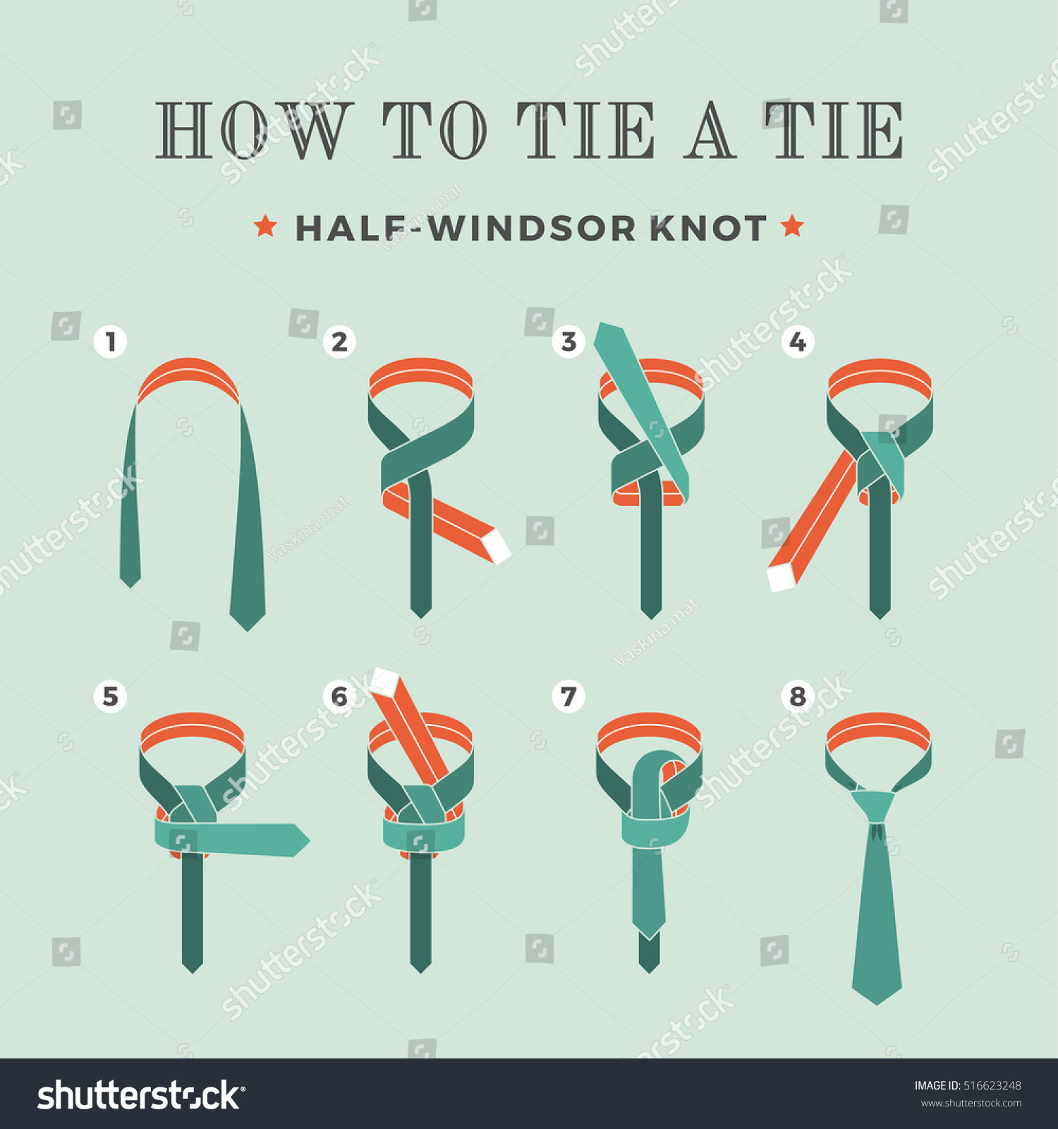 Diagram Of How To Tie A Windsor Knot New Era Wiring Double Pictures 3 Instructions On Stock Vector 516623248 Half Step By