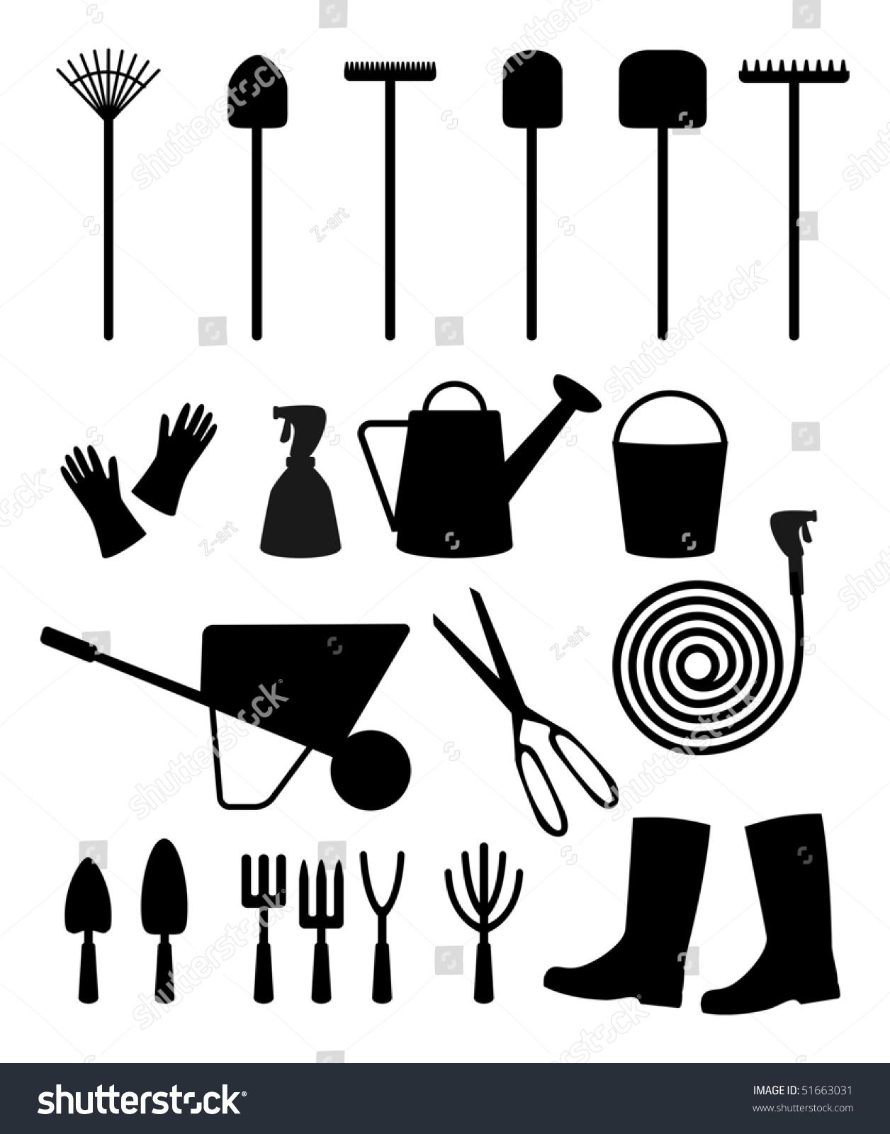 Vector garden tools stock vector 51663031 shutterstock for Gardening tools vector