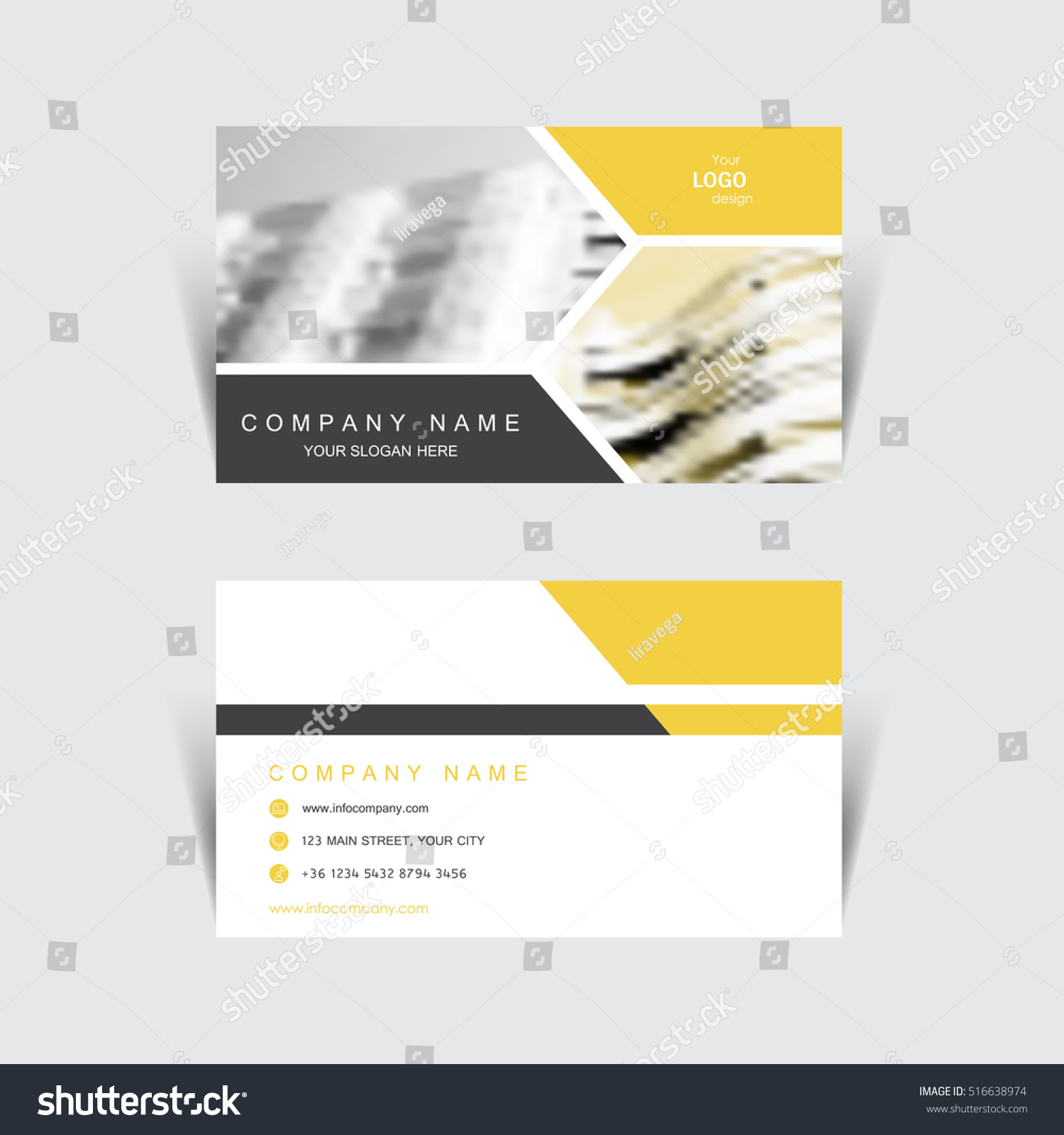 Business Card Print Template Design Vector Stock Vector 516638974 ...