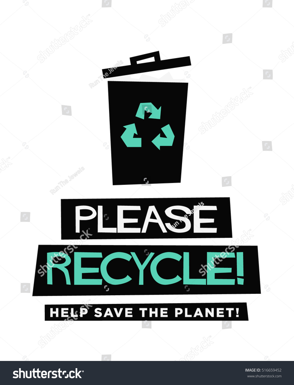 Poster design help - Please Recycle Help Save Our Planet Flat Style Vector Illustration Sign Notice Poster Design