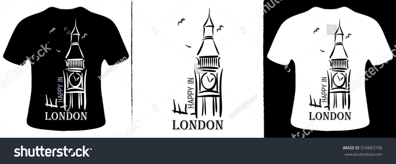 Shirt design london - Happy In London T Shirt Design