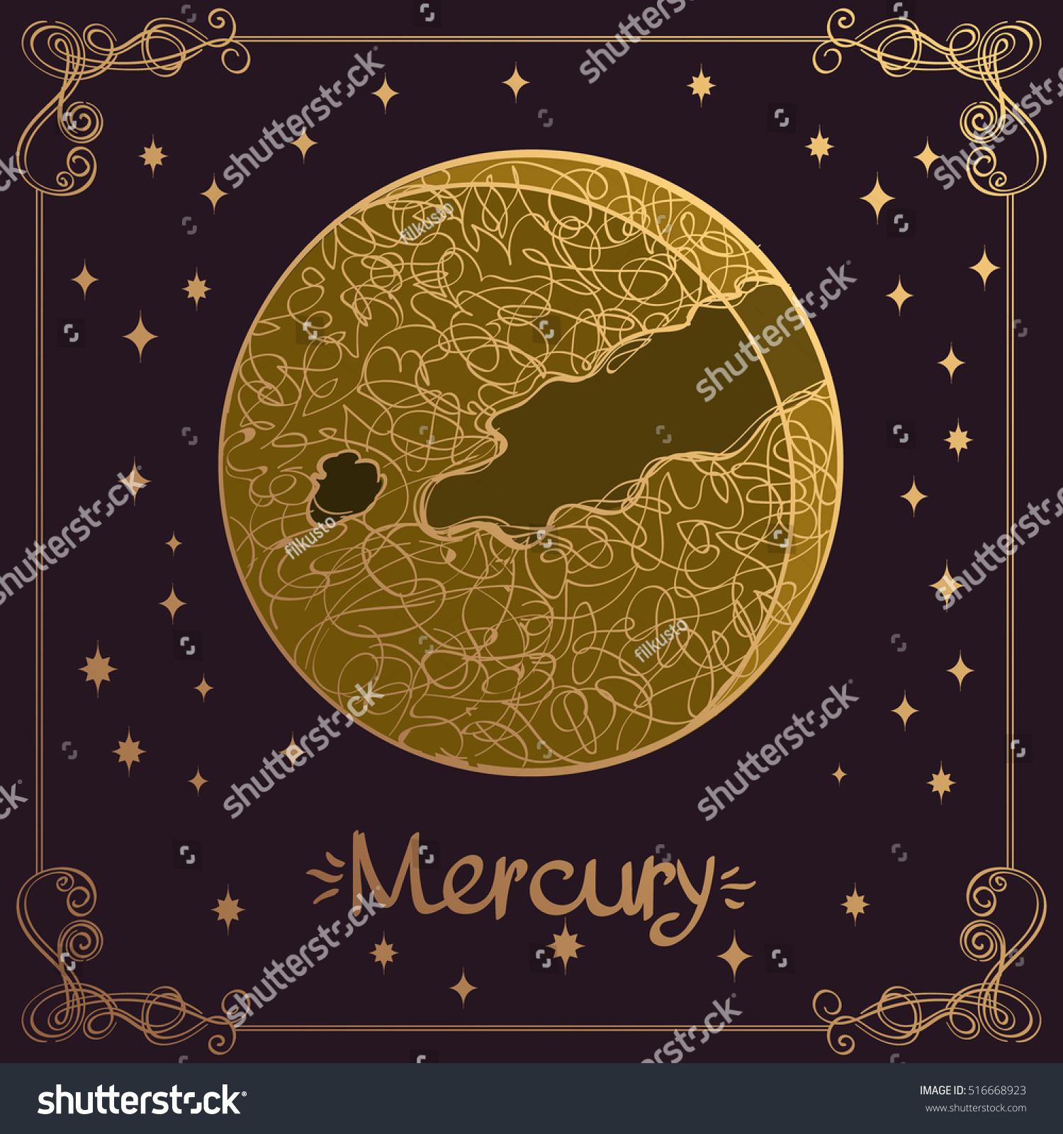 Mercury Stylized Illustration Mercury Hand Drawing Stock Vector