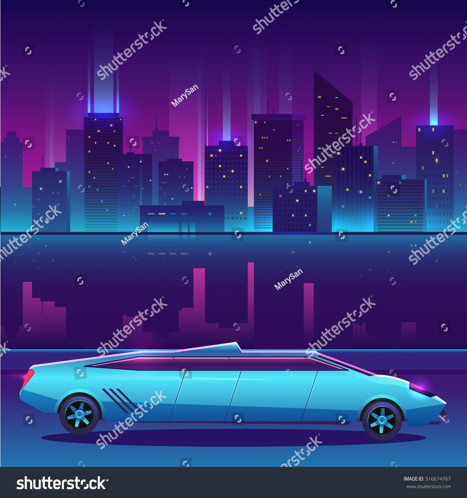 Lamborghini Limousine Vector Front Night City Stock Vector Royalty