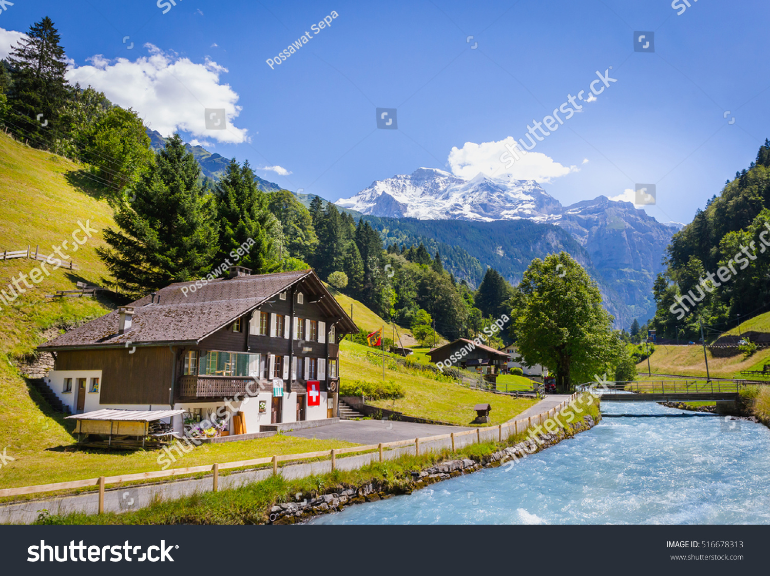 Swiss Mountain House beautiful swiss house blue river snow stock photo 516678313