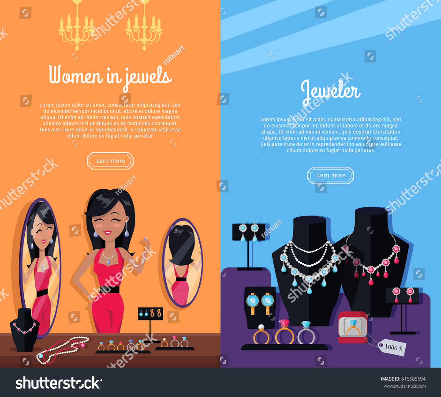 Banner design for jewellery - Women In Jewels And Jeweler Template Poster Jewelry Banner Concept Design Diamond And Jewellery
