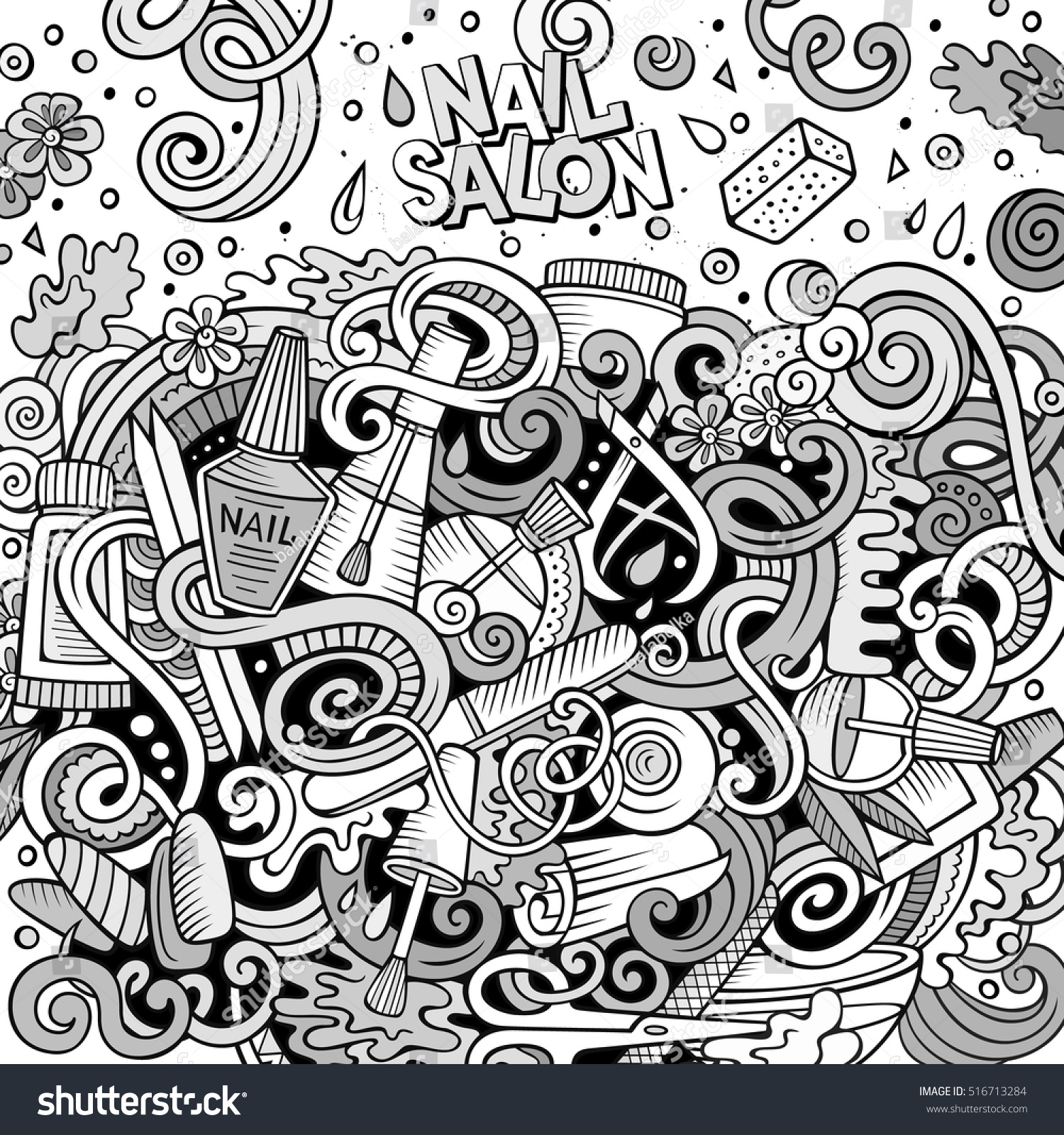 Cartoon Cute Doodles Hand Drawn Nail Stock Vector 516713284 ...