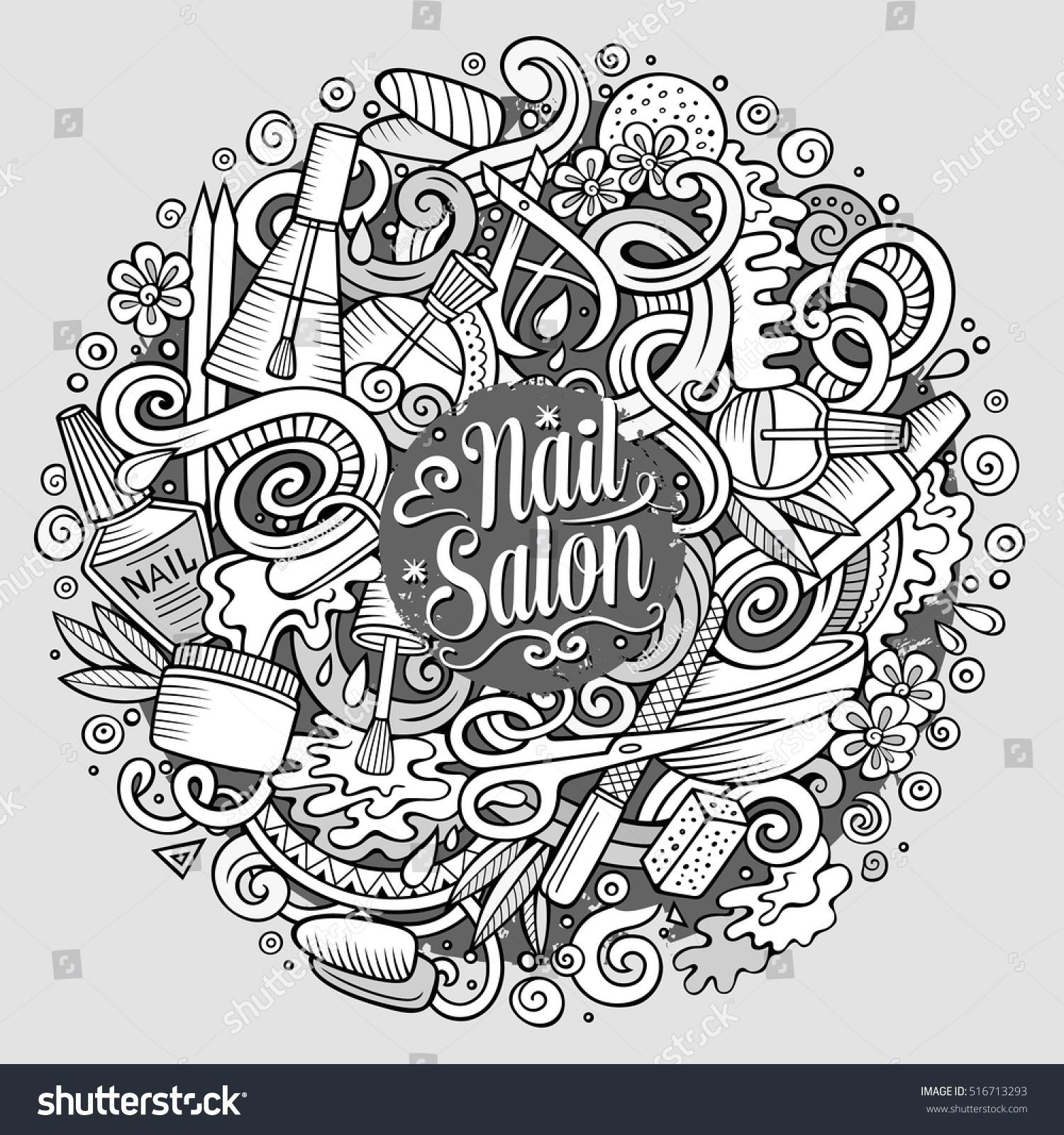 Cartoon Cute Doodles Hand Drawn Nail Stock Vector 516713293 ...