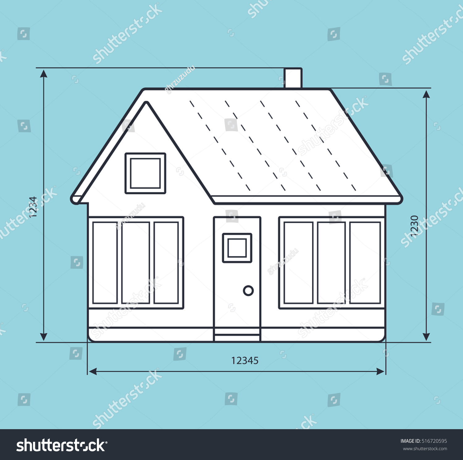 House project blueprint drawing dimension lines stock vector house project blueprint drawing with dimension lines malvernweather Image collections