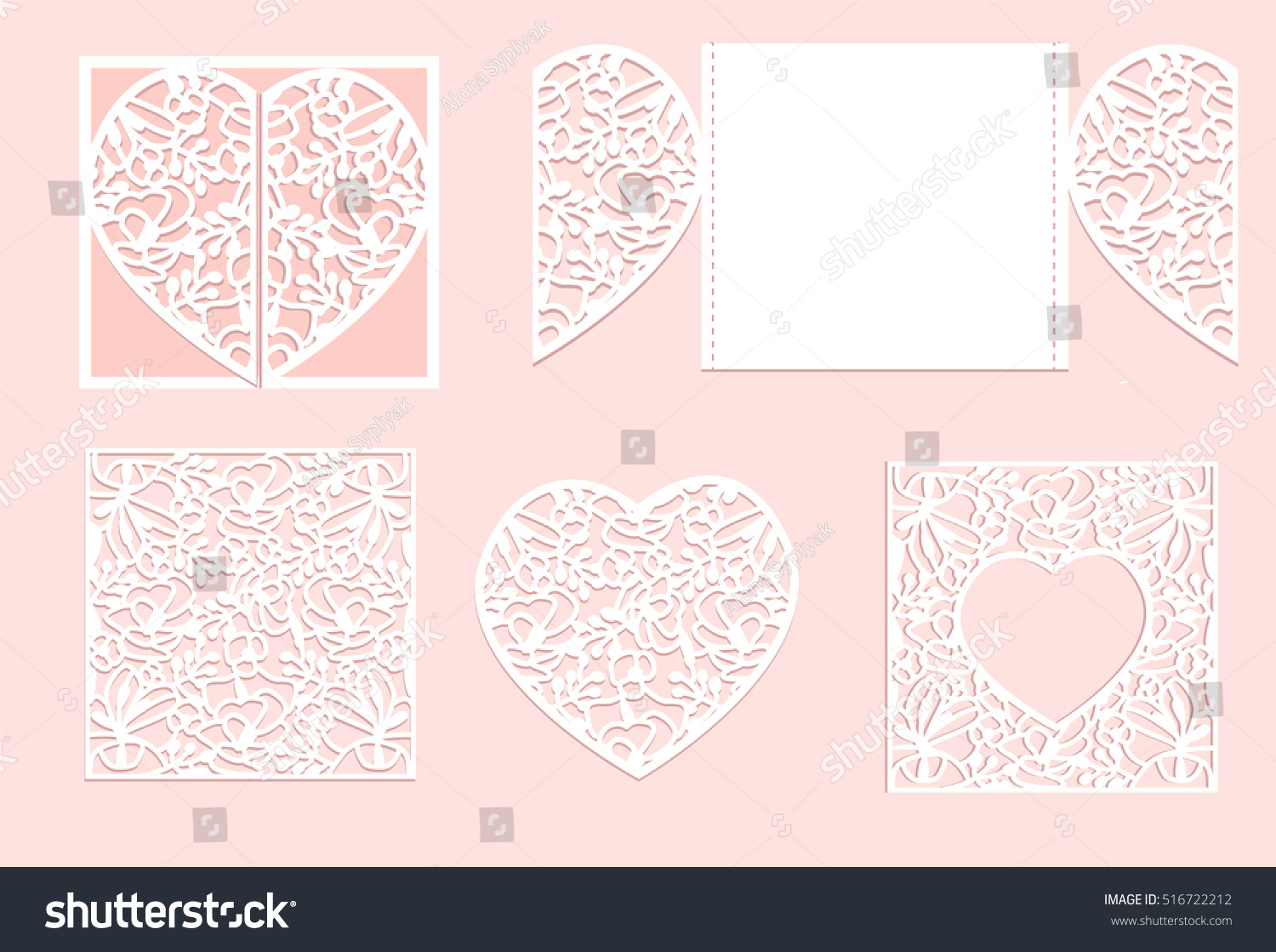Vector heart paper cutting White heart made of paper Laser cut vector Wedding invitation or greeting card with flowers Invitation envelope template Use for laser cutting Valentine Day Lace