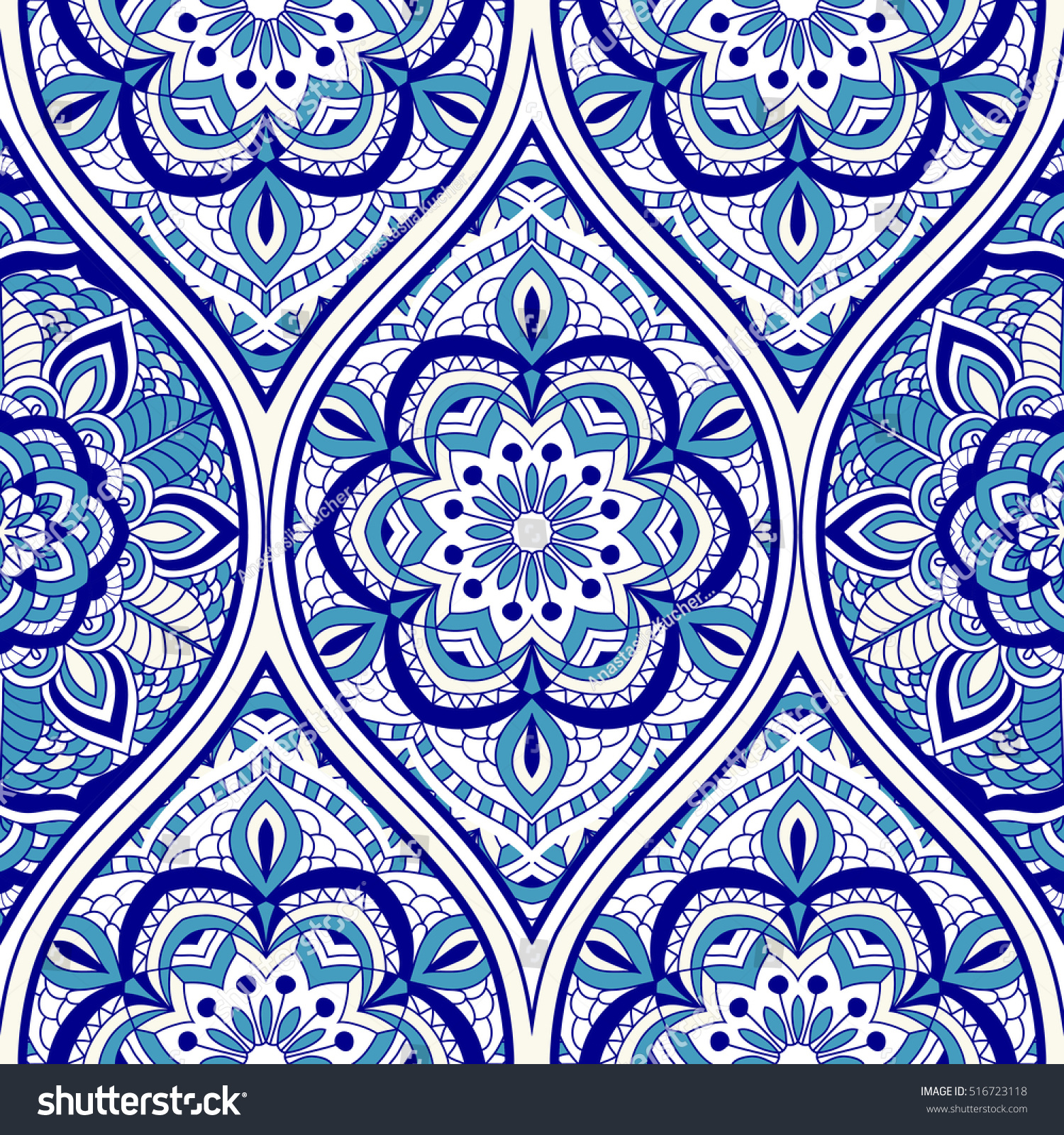 Seamless Turkish Pattern In Blue And White Endless Can Be Used For Ceramic Tile
