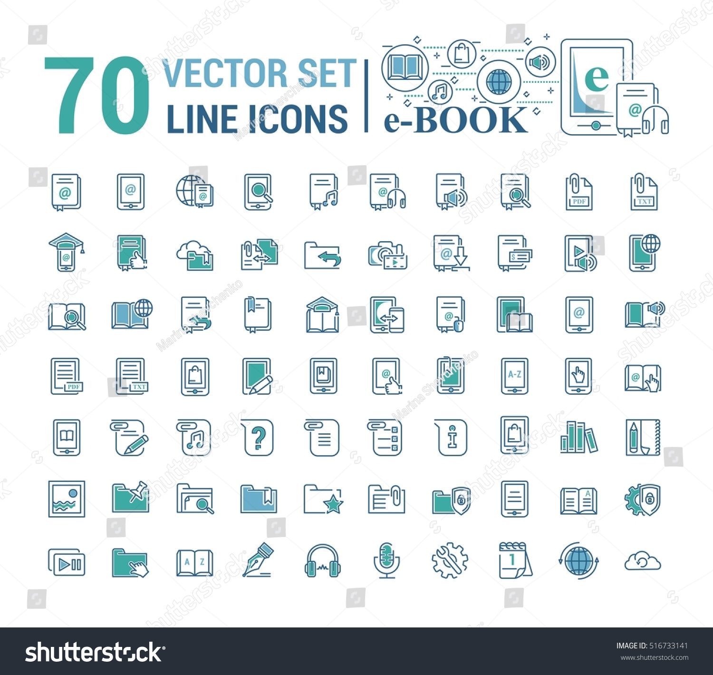 Vector Graphic Setlogo Icon Ebook Pocket Stock Vector (Royalty Free