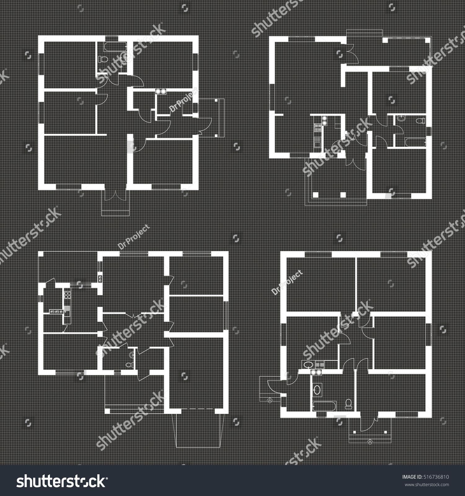 Architectural Set Ground Floor Blueprints Vector Stock Vector ...