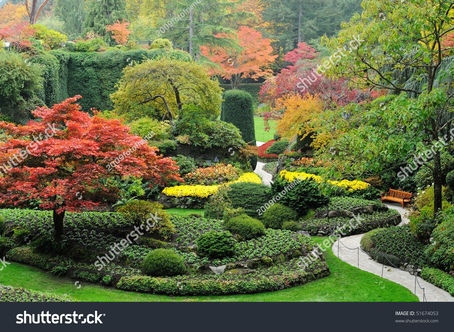 Autumn tree colors butchart gardens victoria stock photo for Gardening tools victoria bc