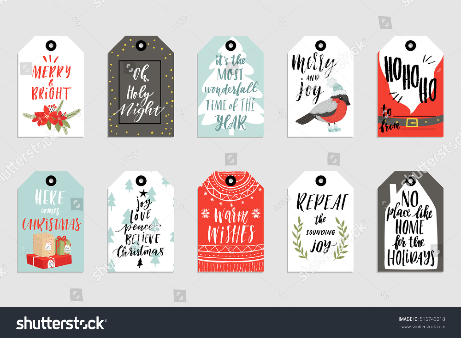 Collection of 10 cute Merry Christmas and Happy New Year ready-to-use gift tags Set of ten printable hand drawn holiday cards templates Vector seasonal labels design