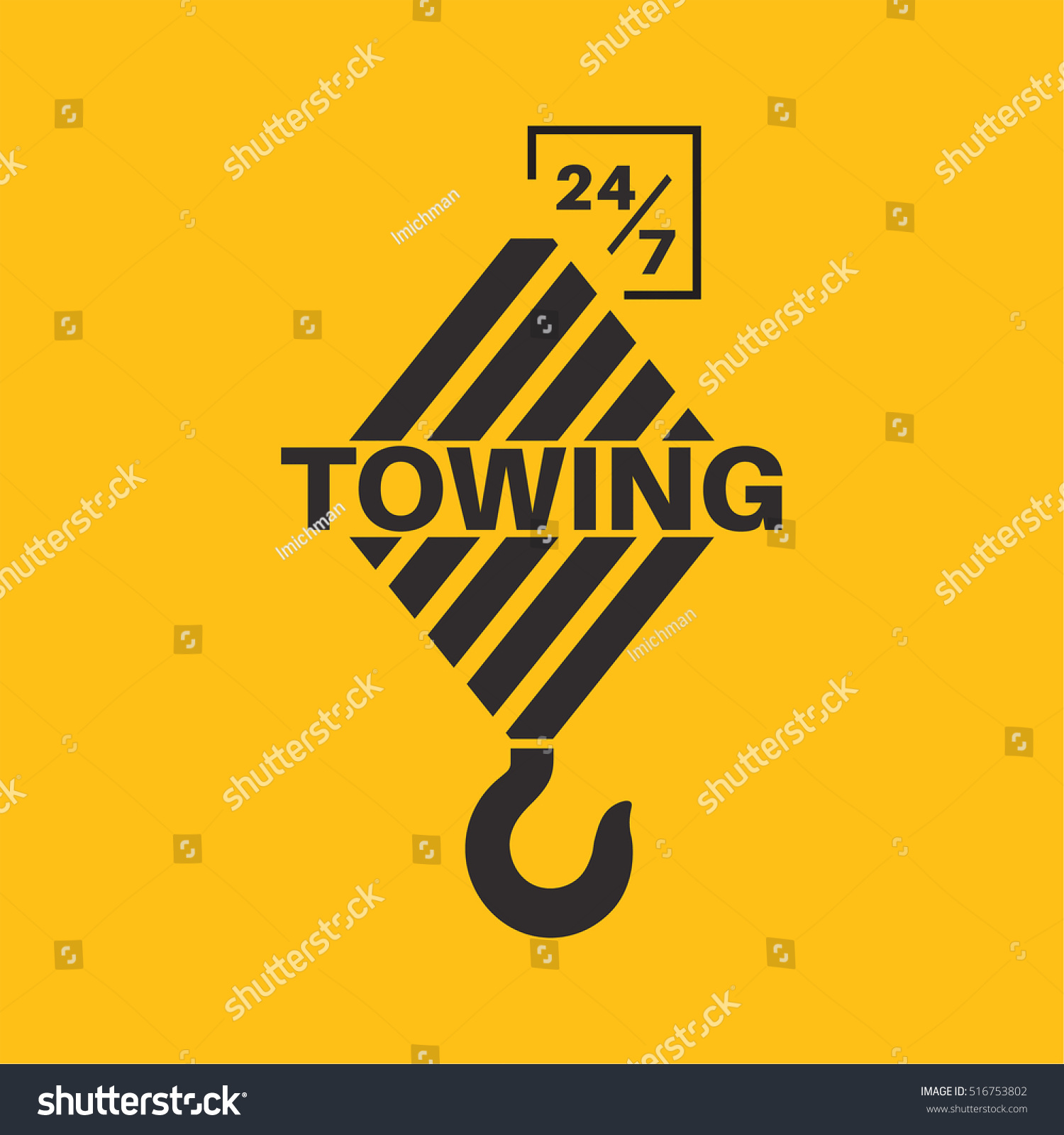 Tow Truck Icon Wrecker Logotip Towing Stock Vector Royalty Free