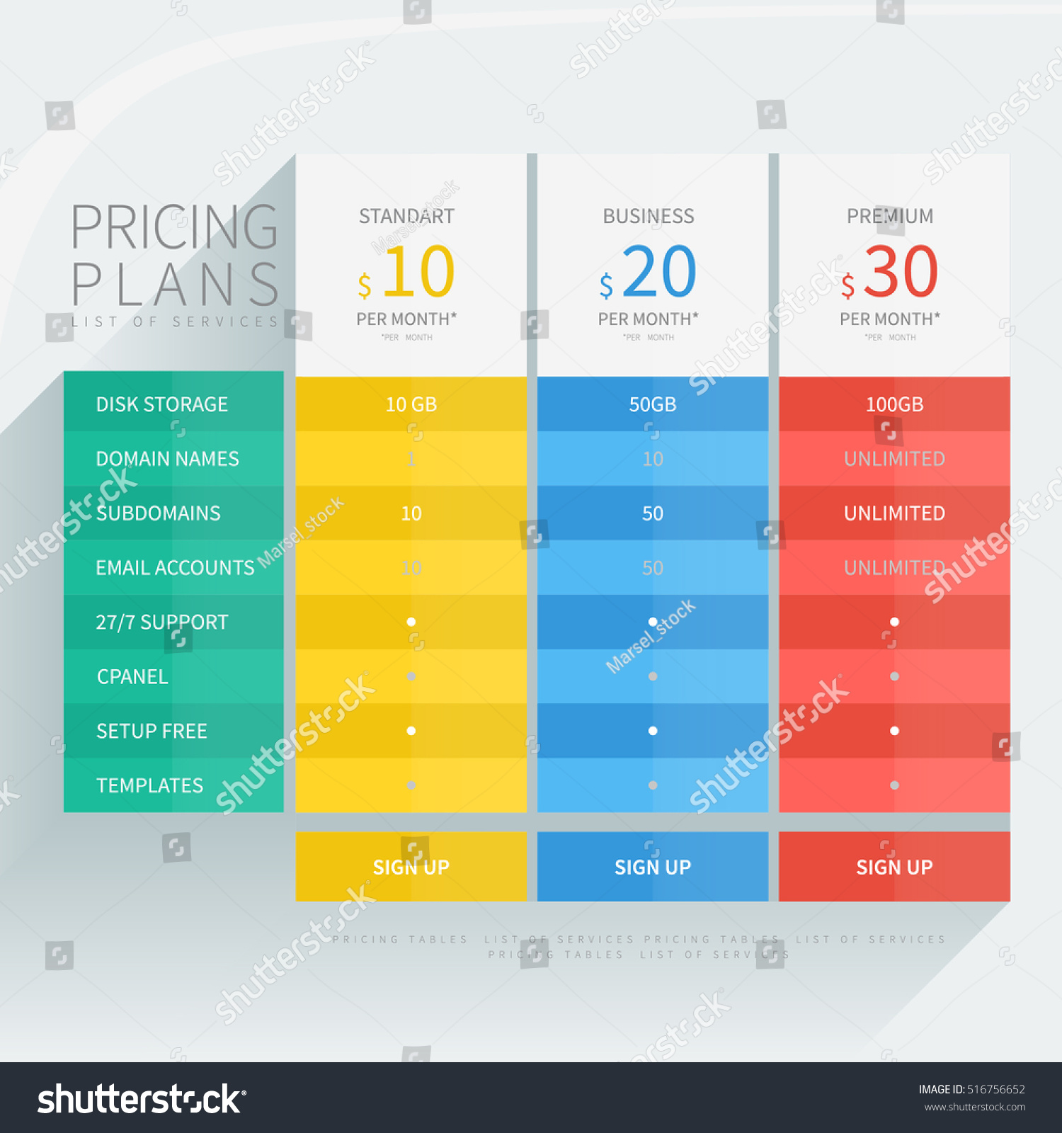 pricing comparison table set commercial business stock