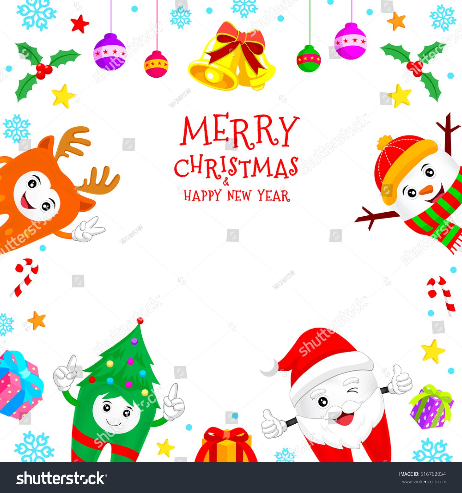 Christmas Teeth Characters Frame Santa Claus Stock Vector (Royalty ...