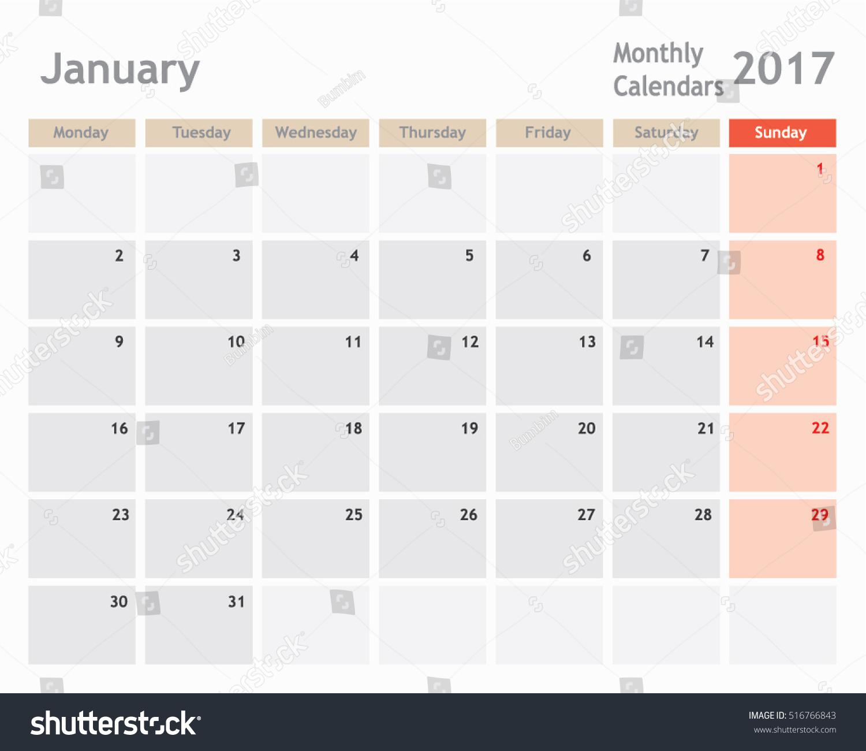 January Calendar Planner : January calendar planner monthly stock