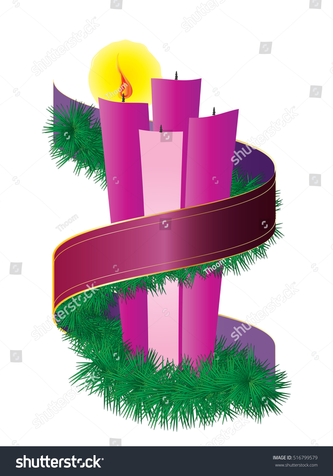 Advent candles wreath purple violet ribbon stock vector 516799579 advent candles wreath with purple violet ribbon first sunday of advent christmas season holiday buycottarizona Image collections