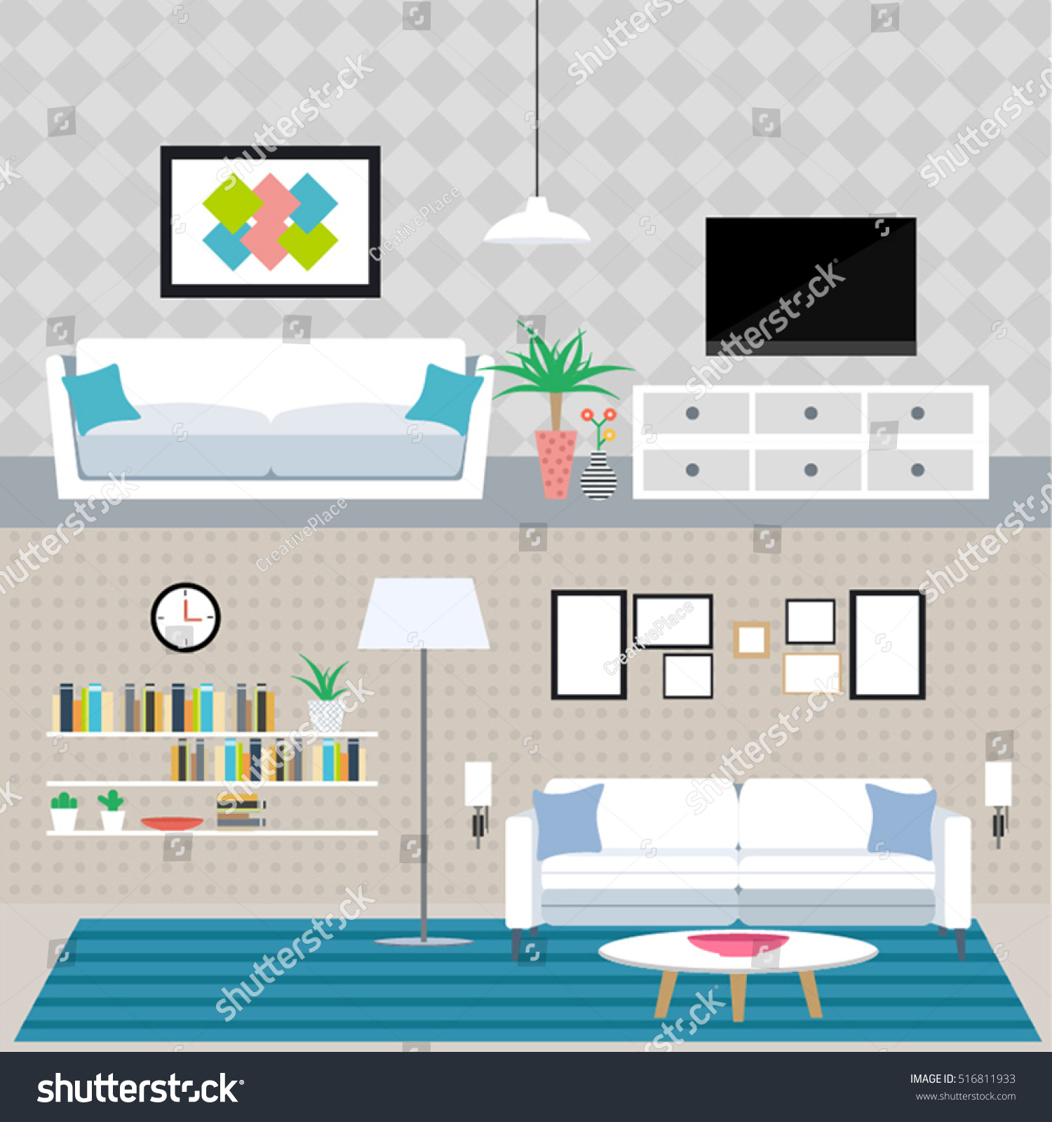 Set Flat Elements Interior Design Concept Stock Vector (Royalty Free ...
