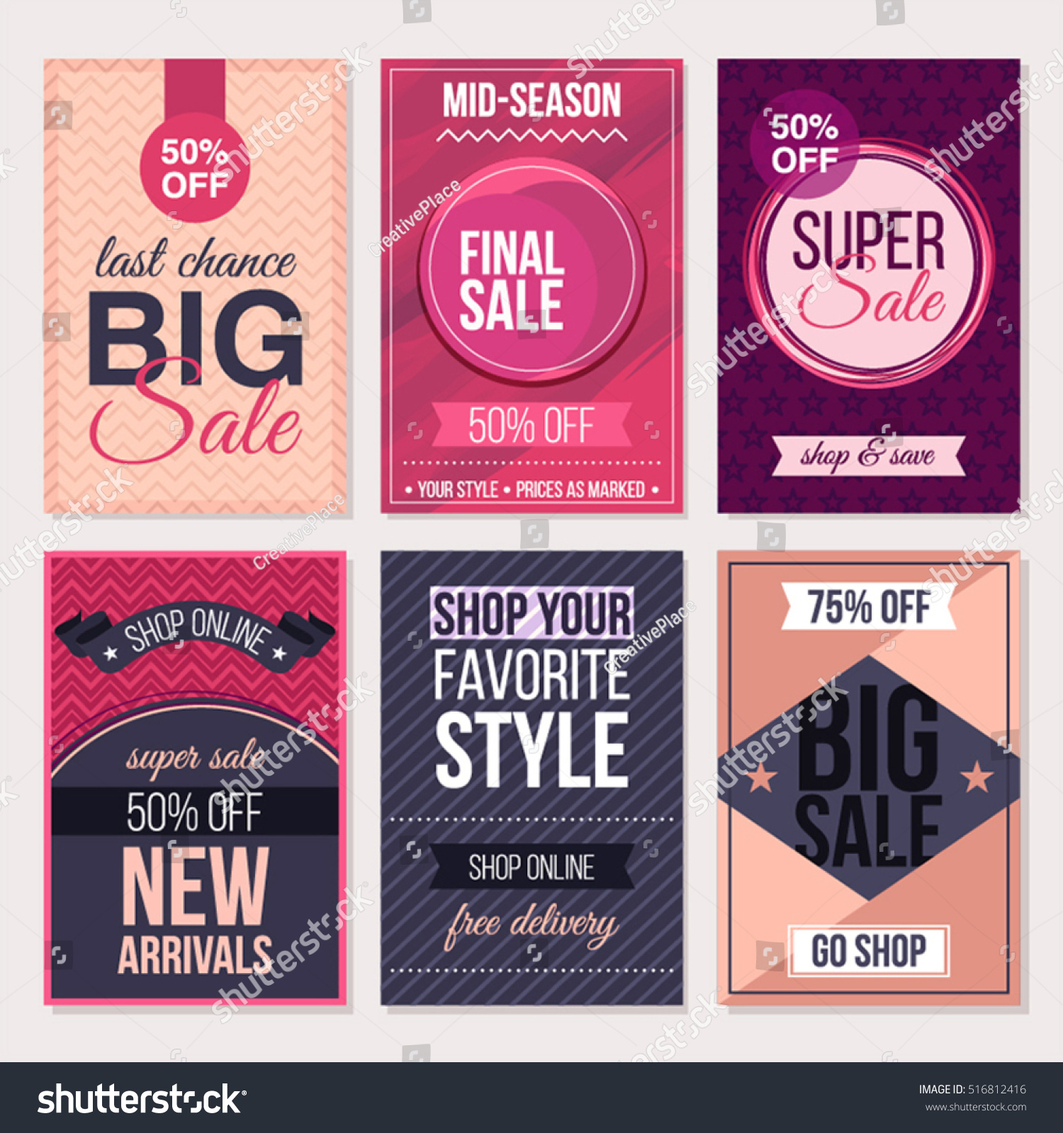 collection of six creative flyers can be used as poster or set of abstract flat cards and banners for season mid season discounts