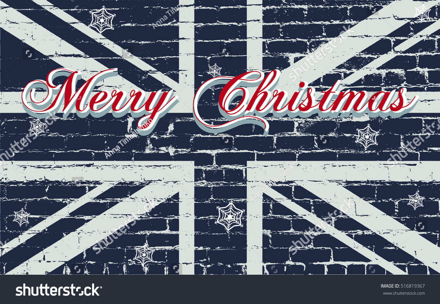 Merry Christmas Greeting Card Lettering Snowflakes Stock Vector