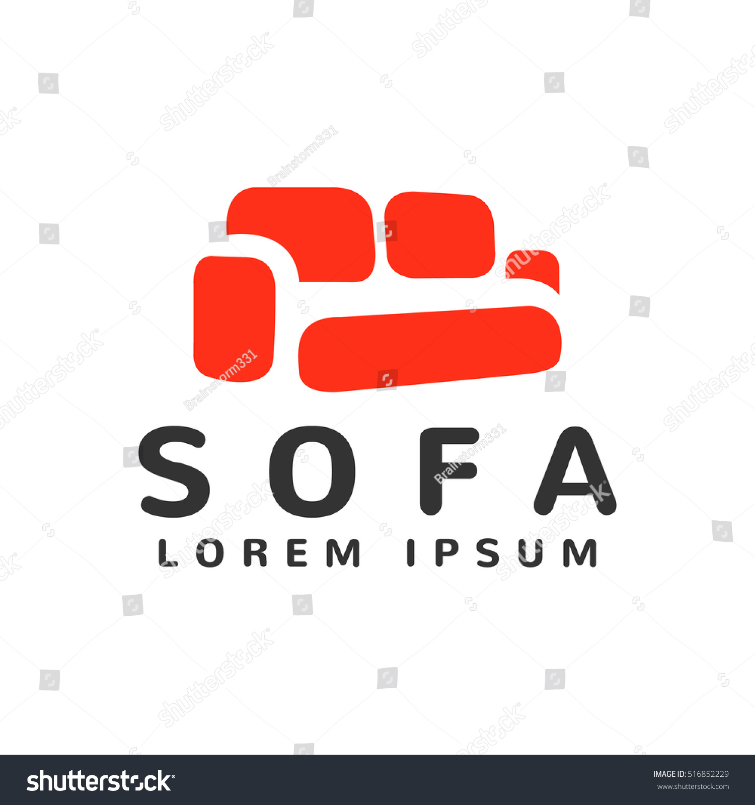 Furniture Logo Template Icon Store Design Isolated