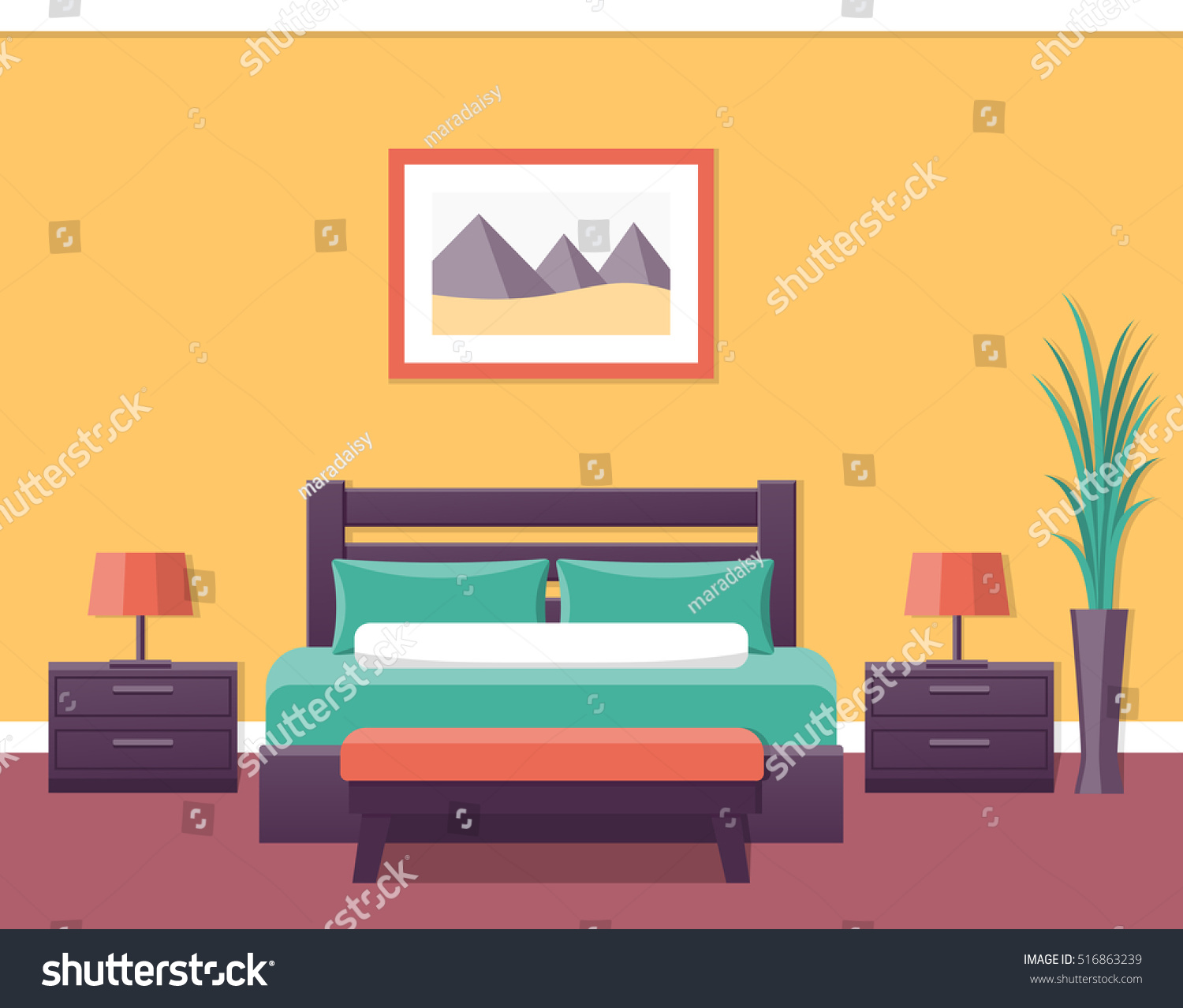 Hotel room flat interior bedroom house stock vector for Interior design images vector