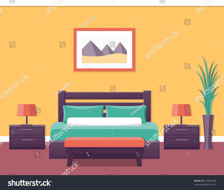 Bedroom Interior Design Set Furniture Vector ~ Royalty free vector design flat illustration interior