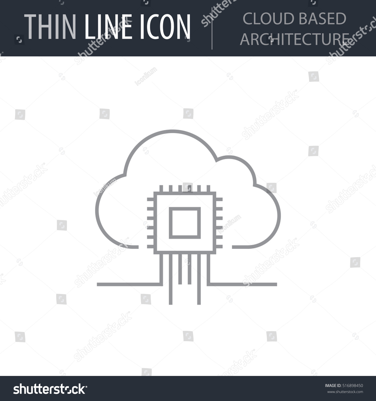 Symbol Of Cloud Based Architecture Thin Line Icon Data Science Stroke Pictogram Graphic For
